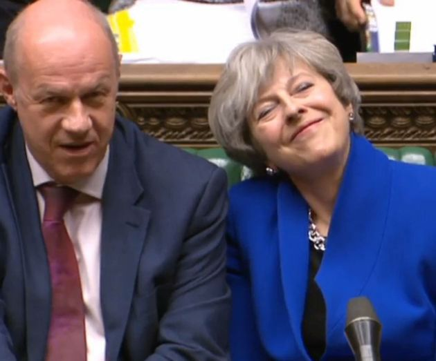Damian Green and Theresa May during Prime Minister's Question Time, hours before he was