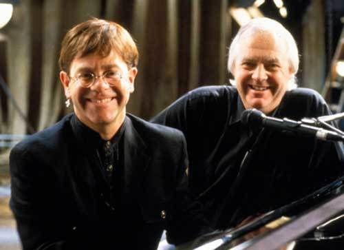 (L to R) Sir Elton John and Sir Tim Rice