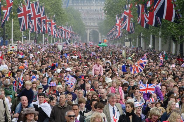 A crowd of well-wishers at the April 29, 2011, London wedding of Prince William and Kate