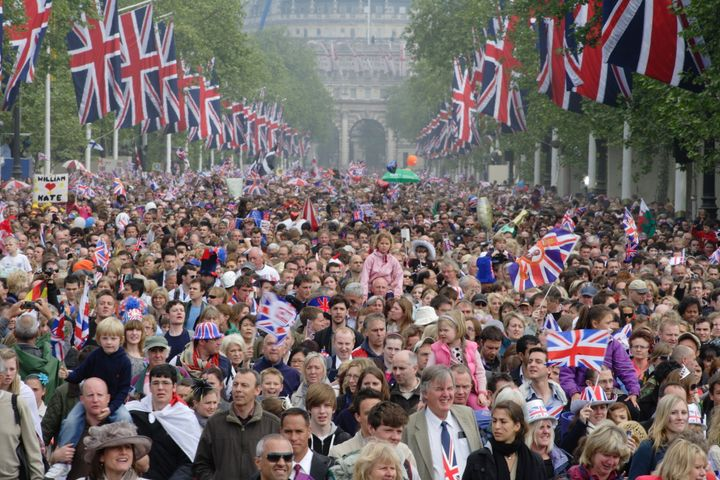 A crowd of well-wishers at the April 29, 2011, London wedding of Prince William and Kate Middleton.