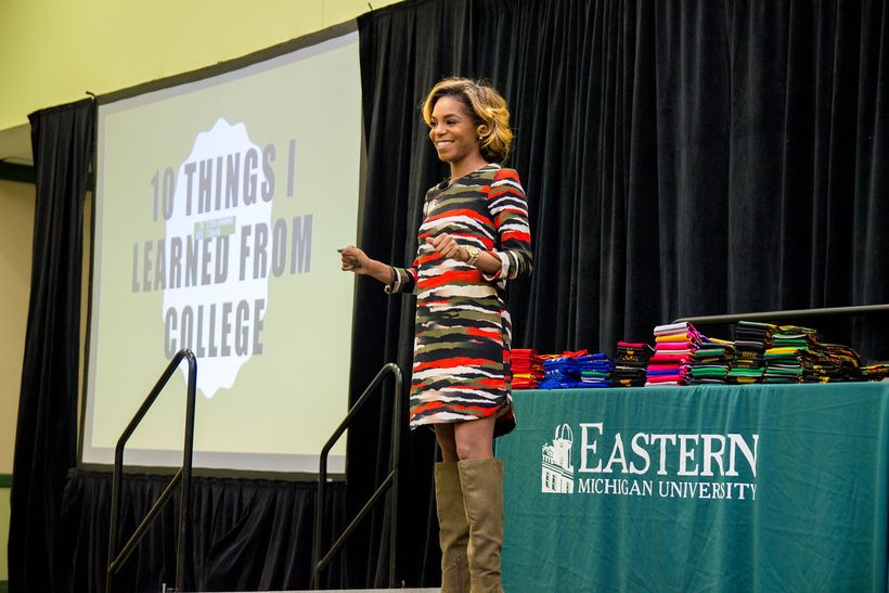 Brittni L. Brown speaking at her alma mater, Eastern Michigan University