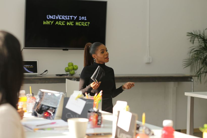 Brittni L. Brown teaching at the fall semester of the Bee-coming Your Brand University, 2017
