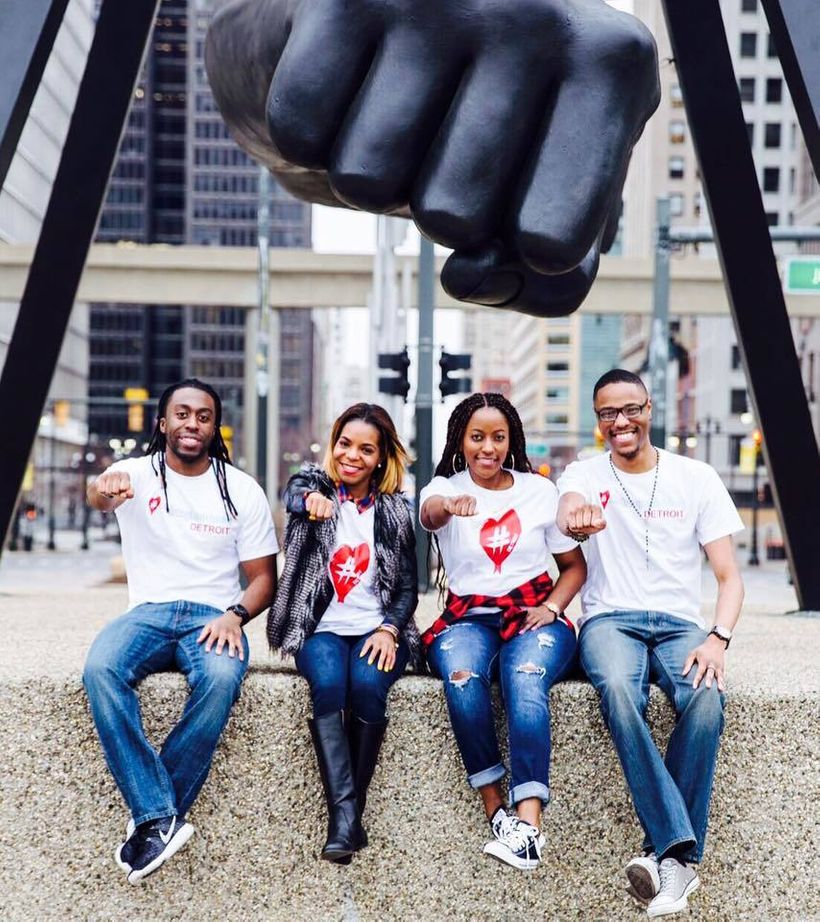 Brittni L. Brown with other members of Hashtag Lunchbag Detroit. Left to right: Andy, Brittni, Jama S, Joshua K