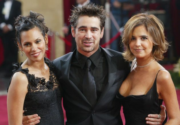 L-R: Model Kim Bordenave, Colin Farrell, and Farrell's sister Claudine (R) at the 75th Annual Academy Awards in 2003.