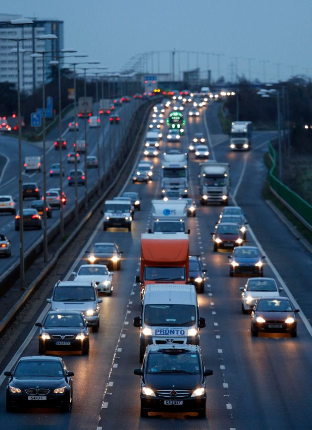Traffic leaves London on the westbound M4 on the last Friday before Christmas last