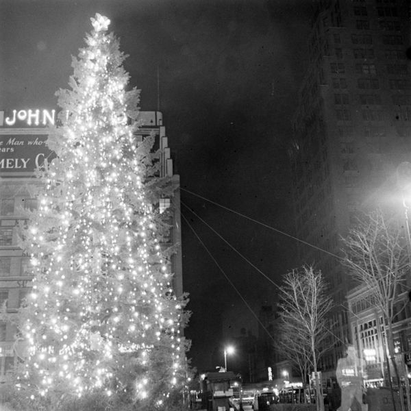 Rockefeller Christmas tree lit up at night in New York City in 1940.