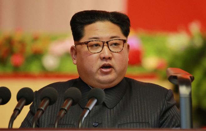 North Korean leader Kim Jong-un delivers a speech at the 8th Conference of Munitions Industry in Pyongyang on December 12.&#x