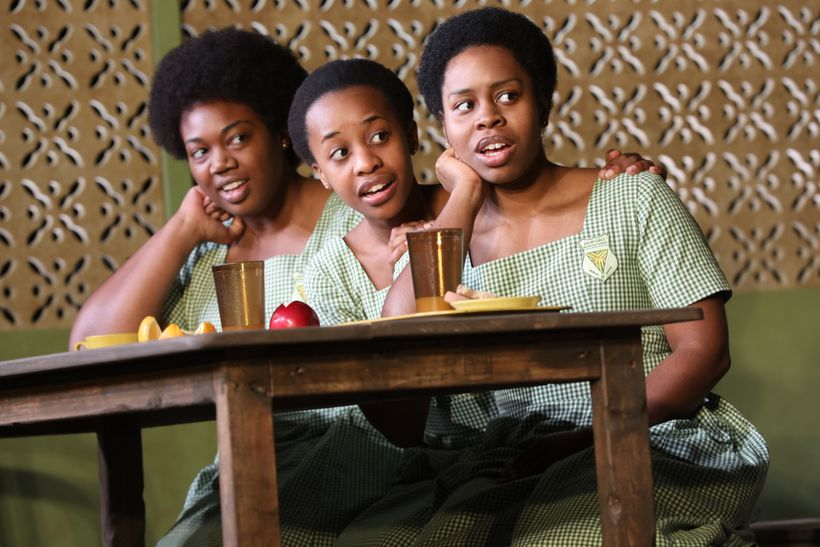 Abena Mensah-Bonsu, Mirirai Sithole and Paige Gilbert in <em>School Girls; or, The  African Mean Girls Play</em>