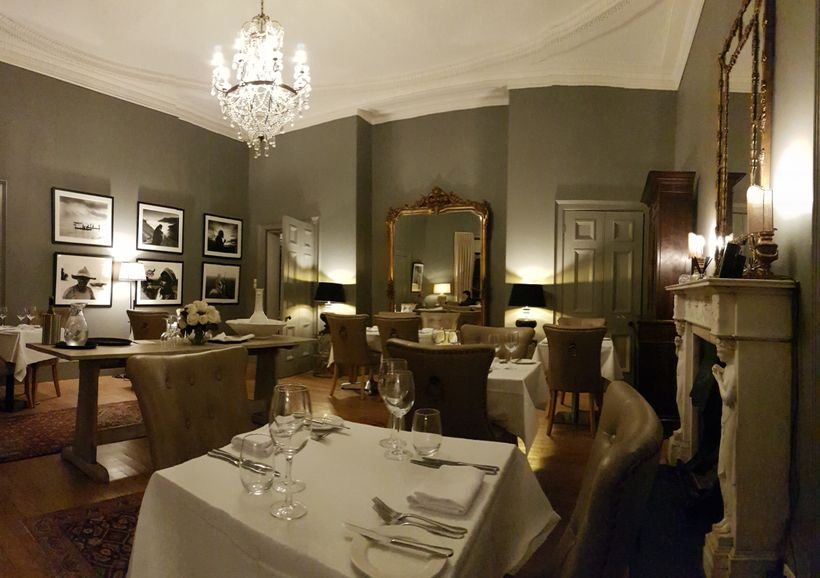 The elegant, candle-lit Bow Room Restaurant, which overlooks the hotel's gardens