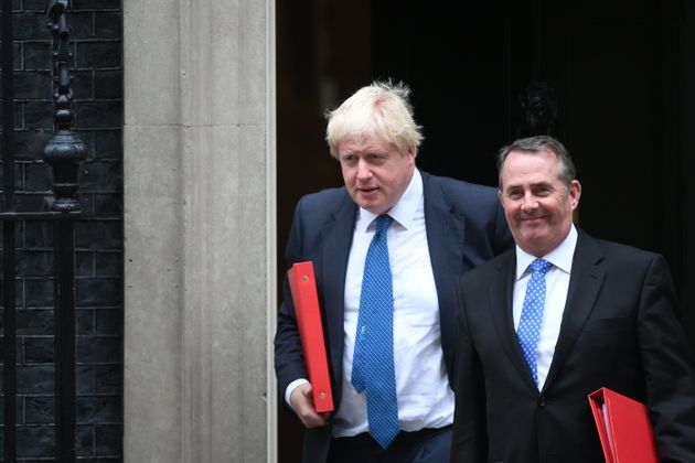 Foreign Secretary Boris Johnson and International Trade Secretary Liam Fox outside Downing