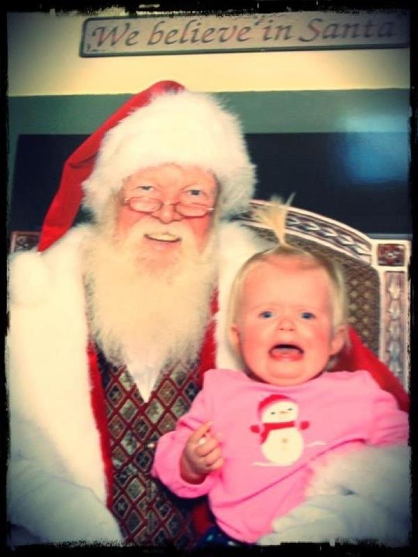 Leigh Hansbarger's daughter, Molly, was 1 year old when this photo was snapped 6 years ago.<br><br>The Santa doesn't look too