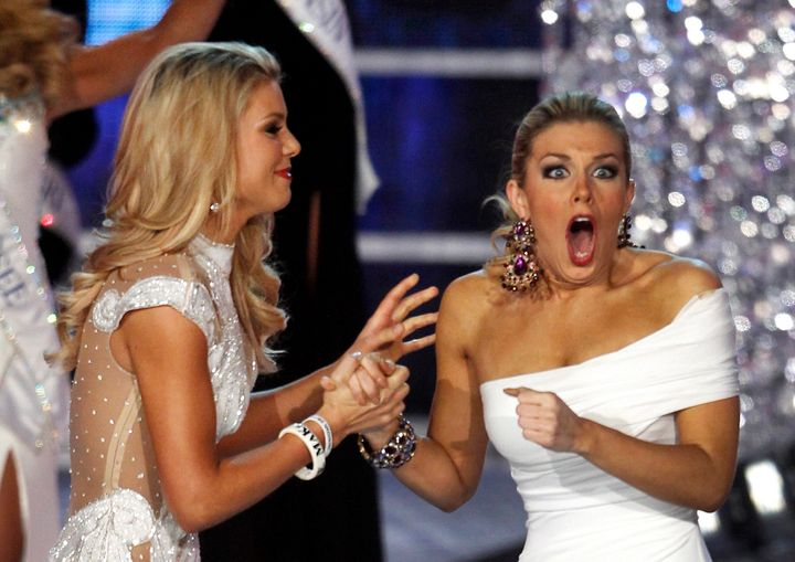 Mallory Hagan wins the crown in 2013.