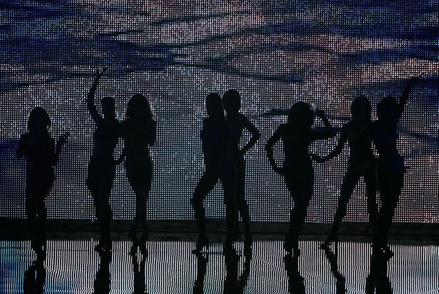 Women compete during the swimsuit portion of the 2007 Miss America