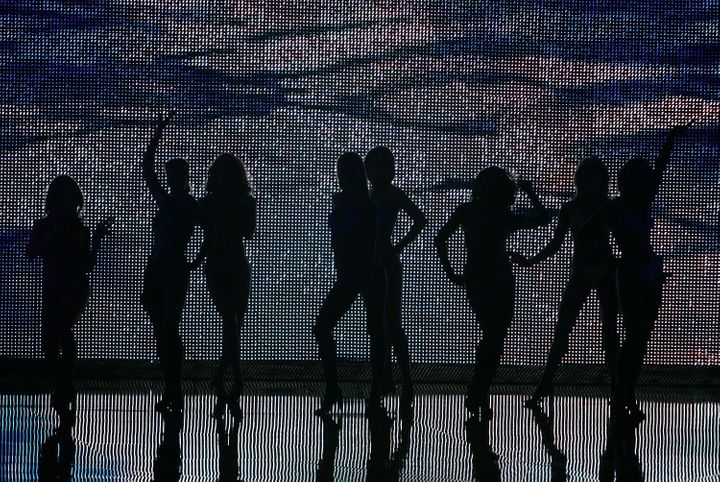 Women compete during the swimsuit portion of the 2007 Miss America pageant.