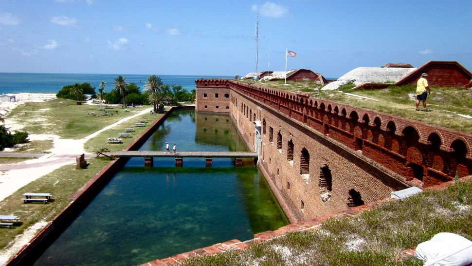 Fort Jefferson stands in Dry Tortugas, Florida.