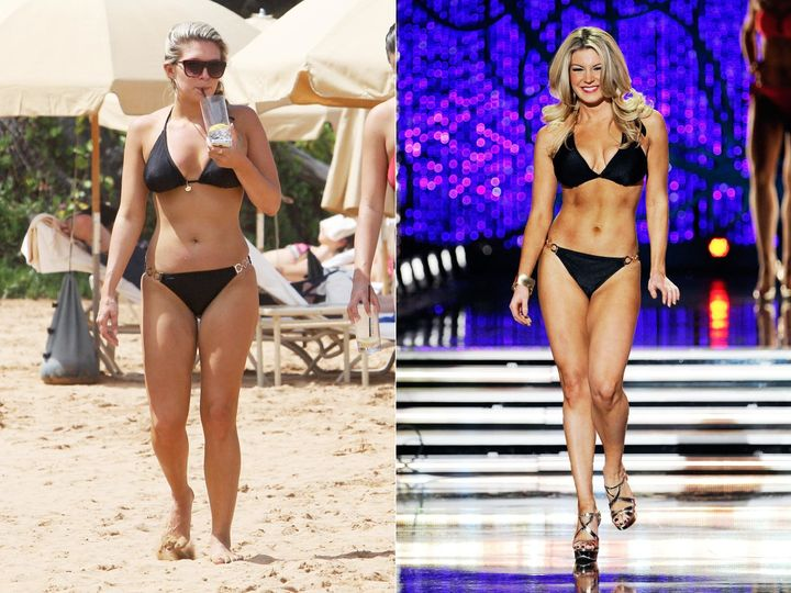 Hagan was publicly fat-shamed for the photo on the left. The right shows her while competing for Miss America.