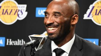 LOS ANGELES, CA - DECEMBER 18:  Kobe Bryant talks with media before his jersey retirement ceremony on December 18, 2017 at STAPLES Center in Los Angeles, California. NOTE TO USER: User expressly acknowledges and agrees that, by downloading and/or using this Photograph, user is consenting to the terms and conditions of the Getty Images License Agreement. Mandatory Copyright Notice: Copyright 2017 NBAE (Photo by Andrew D. Bernstein/NBAE via Getty Images)