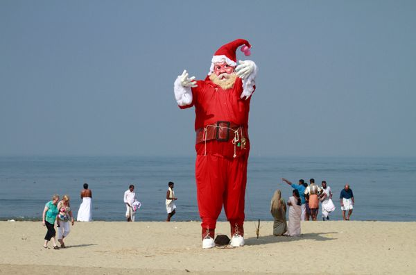 A bizarre Santa Claus statue seen on a beach in the southern Indian city of Kochi in December 2012.