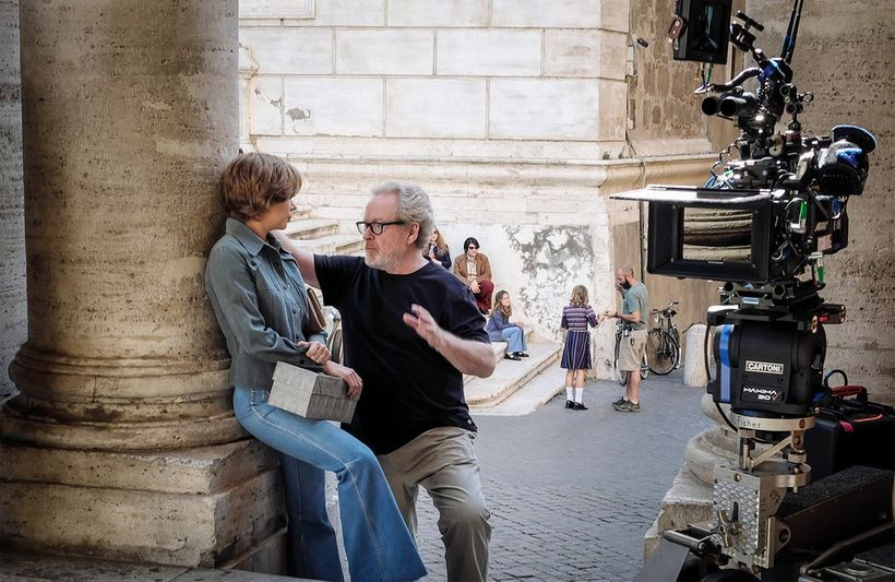 79-year old Ridley Scott, directs Michelle Williams in a scene from his new movie, ALL THE MONEY IN THE WORLD.