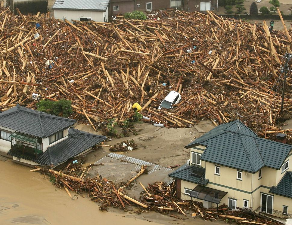 An aerial view of a flooded area in Asakura Cityin Japan on July 6, 2017.
