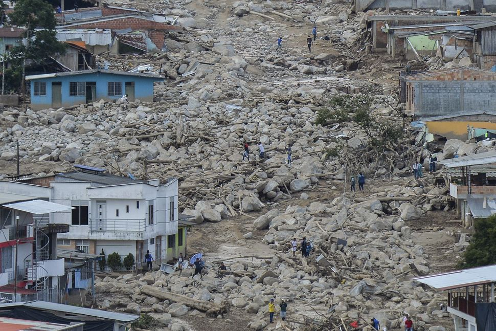 Heavy rains caused mudslides, which created extensive damage inMocoa, Colombia, on April 3, 2017.