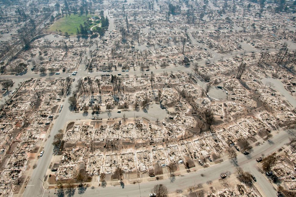 An aerial view shows burned properties in Santa Rosa, California, on Oct. 12, 2017.