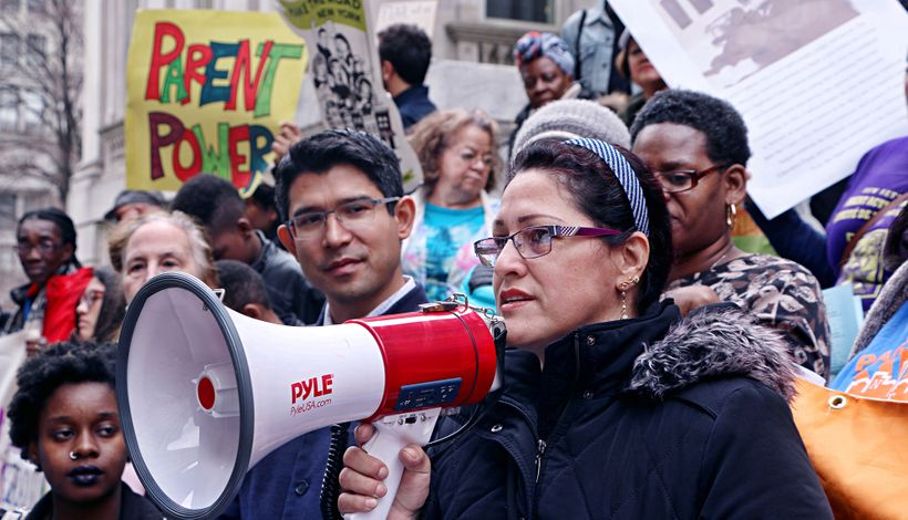 A rally organized by the NYC Coalition for Educational Justice to make City schools more culturally responsive.