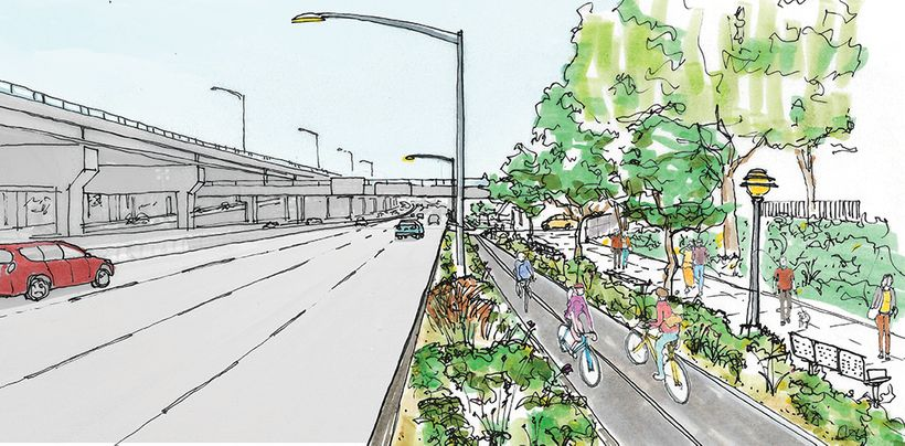 An illustration of how the Sheridan Expressway could be transformed with State funding to provide access to the Bronx River.