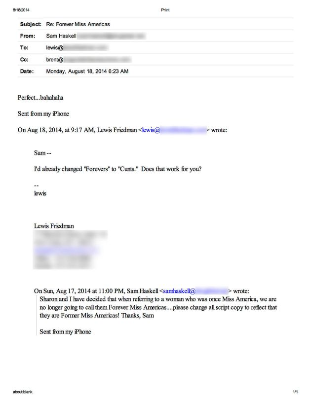 One of the internal emails between Miss America CEO Sam Haskell and lead writer Lewis