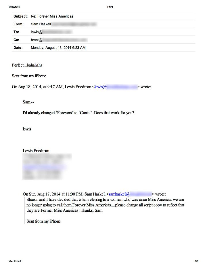 One of the internal emails between Miss America CEO Sam Haskell and lead writer Lewis Friedman