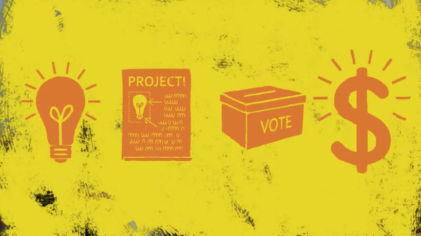 A still from a film explaining participatory budgeting