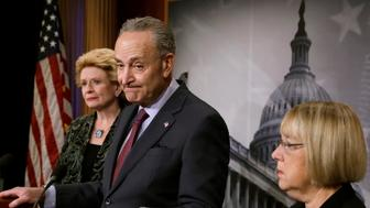 Senate Minority Leader Chuck Schumer (D-NY) pauses as he speaks about the Children's Health Insurance Program (CHIP) at a news conference on Capitol Hill in Washington, U.S., December 21, 2017. REUTERS/Yuri Gripas