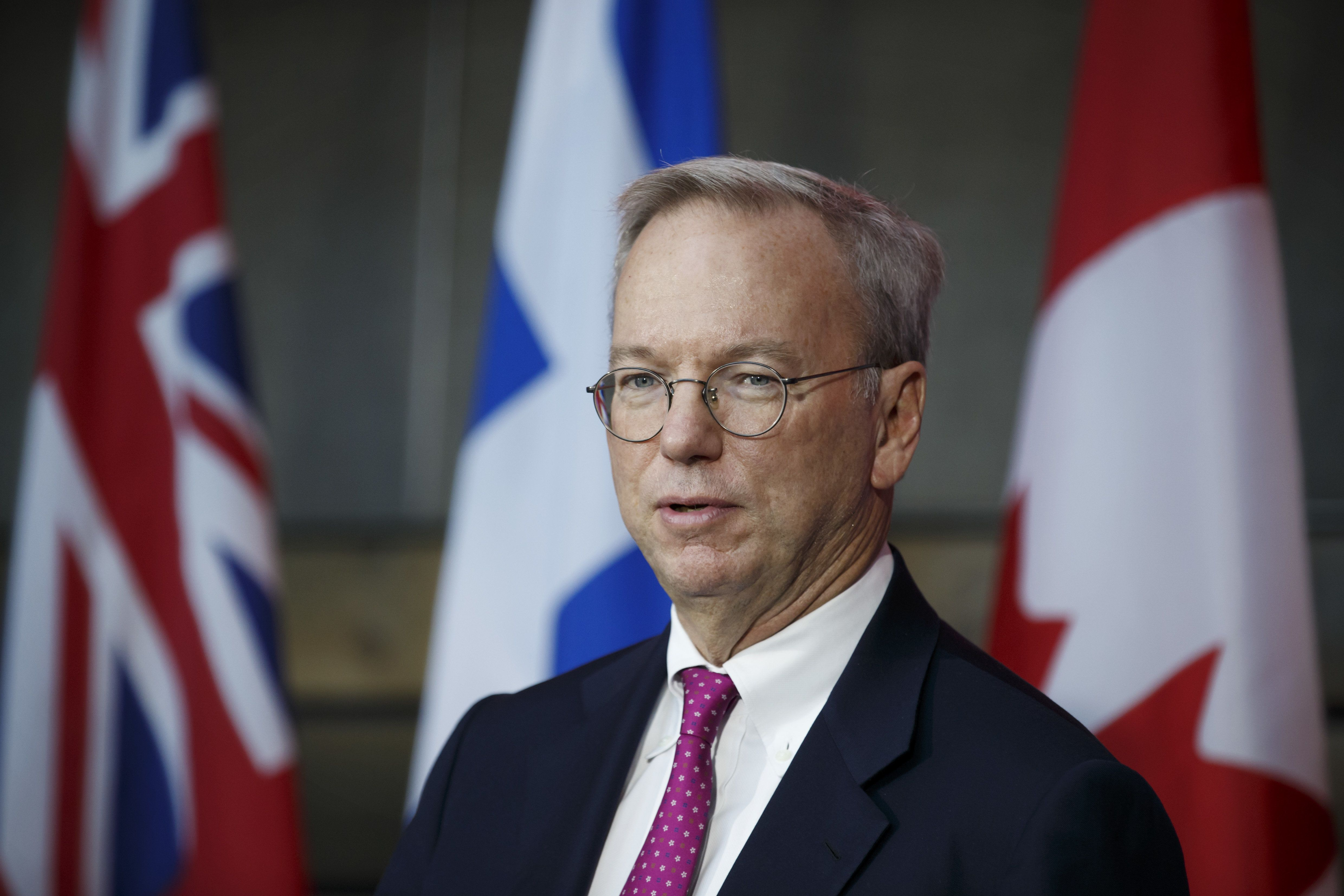 Eric Schmidt, chief executive officer of Alphabet Inc., speaks during an event in Toronto, Ontario, Canada, on Tuesday, Oct. 17, 2017. Sidewalk Labs LLC, the urban innovation unit ofAlphabet Inc., and Waterfront Toronto plan to foster the development of a high-tech community from scratch along Lake Ontario in Canada's biggest city. The area aims to become an innovation hub for technologies that improve city life, from green energy systems, to self-driving transit and new construction techniques that can lower housing costs, the companies said in a astatement. Photographer: Cole Burston/Bloomberg via Getty Images