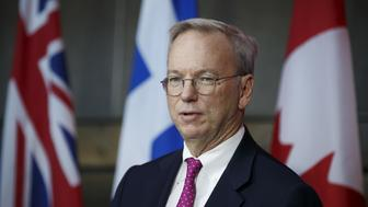 Eric Schmidt, chief executive officer of Alphabet Inc., speaks during an event in Toronto, Ontario, Canada, on Tuesday, Oct. 17, 2017. Sidewalk Labs LLC, the urban innovation unit of Alphabet Inc., and Waterfront Toronto plan to foster the development of a high-tech community from scratch along Lake Ontario in Canada's biggest city. The area aims to become an innovation hub for technologies that improve city life, from green energy systems, to self-driving transit and new construction techniques that can lower housing costs, the companies said in a a statement. Photographer: Cole Burston/Bloomberg via Getty Images
