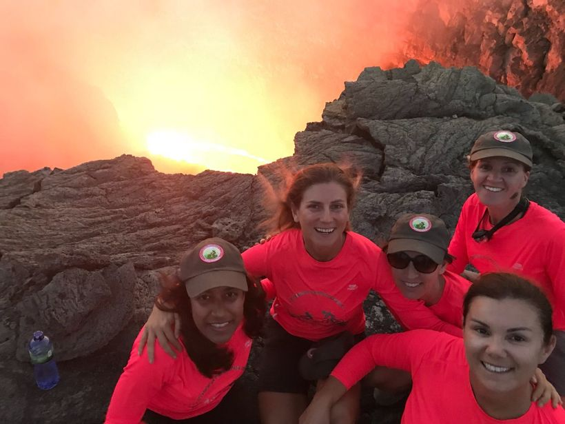 Teammates on the rim of Erta Ale volcano