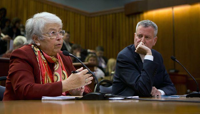Carmen Fariña (l) and Bill de Blasio thinking deep thoughts.