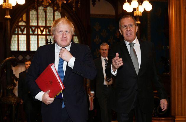 British Foreign Secretary Boris Johnson andRussiancounterpartSergei Lavrov in