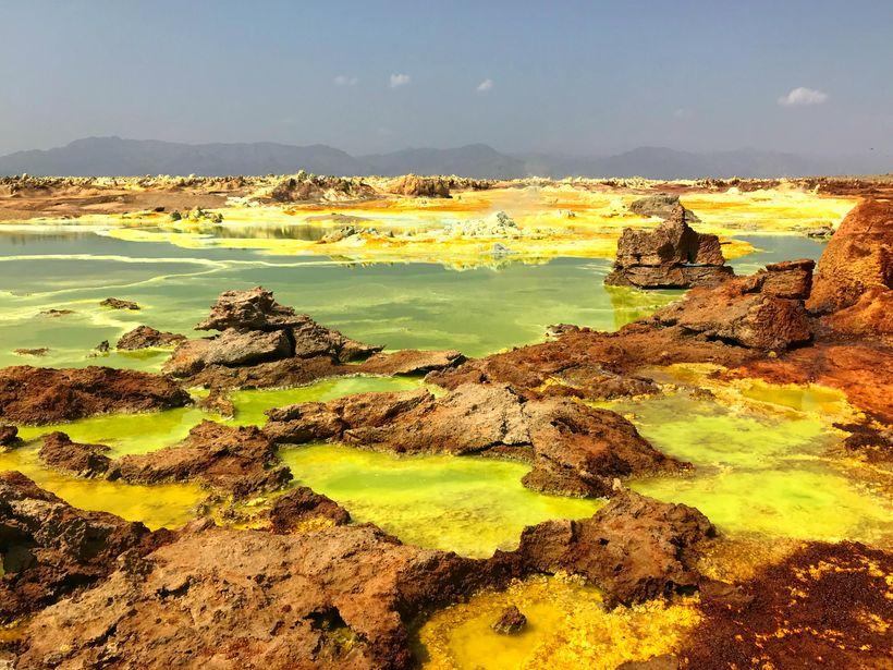 Sulphuric acid pools at Dallol in the Danakil Depression of Ethiopia