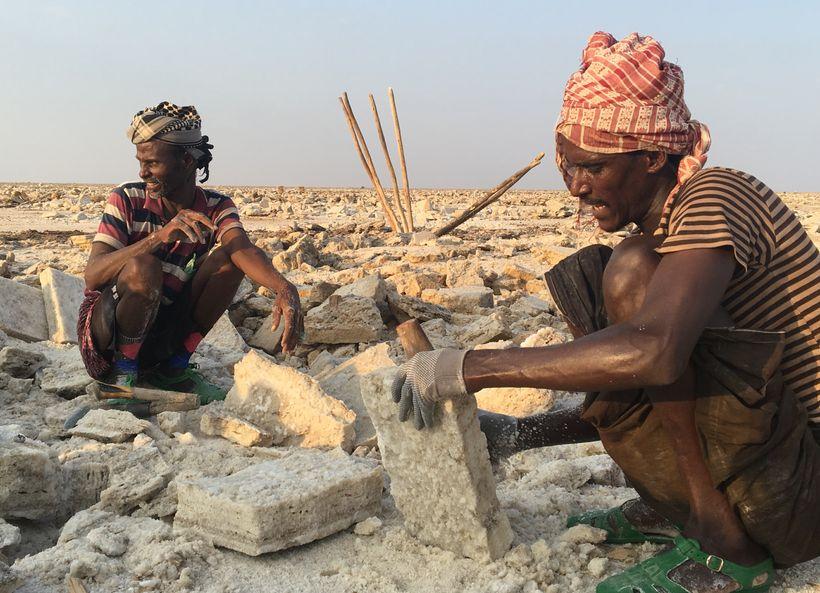 Miners carving-out salt slabs at the salt lake near Hamed Ela