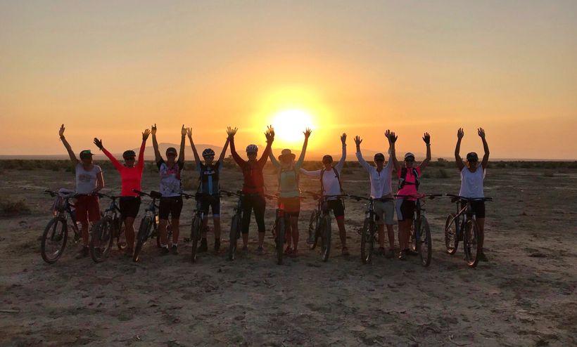 The team leaving  Waideddo camp at dawn