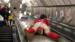 Tube Escalator Stunt Goes Viral After Man Smashes Groin Against Emergency