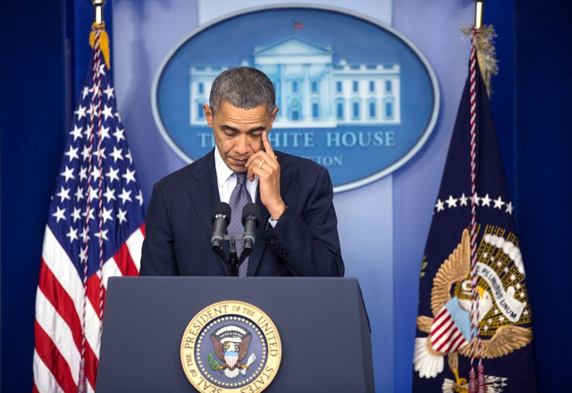President Obama at a press conference to talk to the nation about Sandy Hook