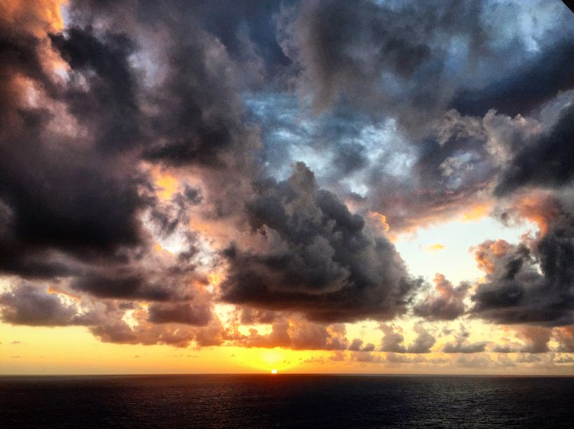 Sunset at sea aboard the Nieuw Amsterdam bound for the pirate waters of the Bahamas