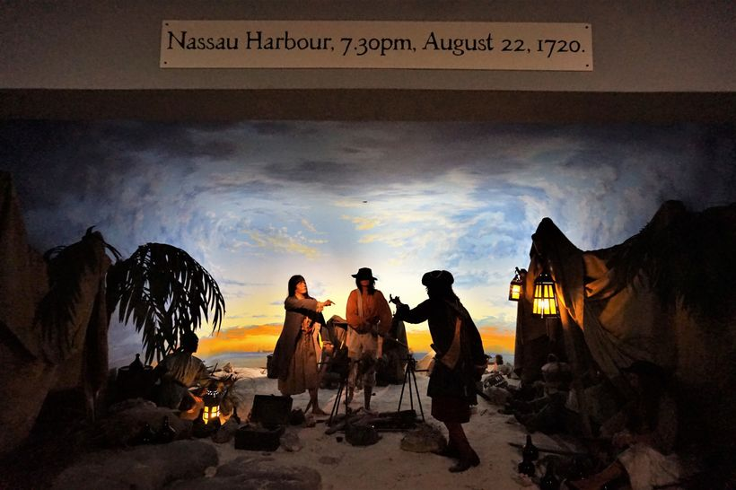 Life size dioramas depict important moments in the history of Nassau pirates, like this meeting of the women pirates Anne Bon