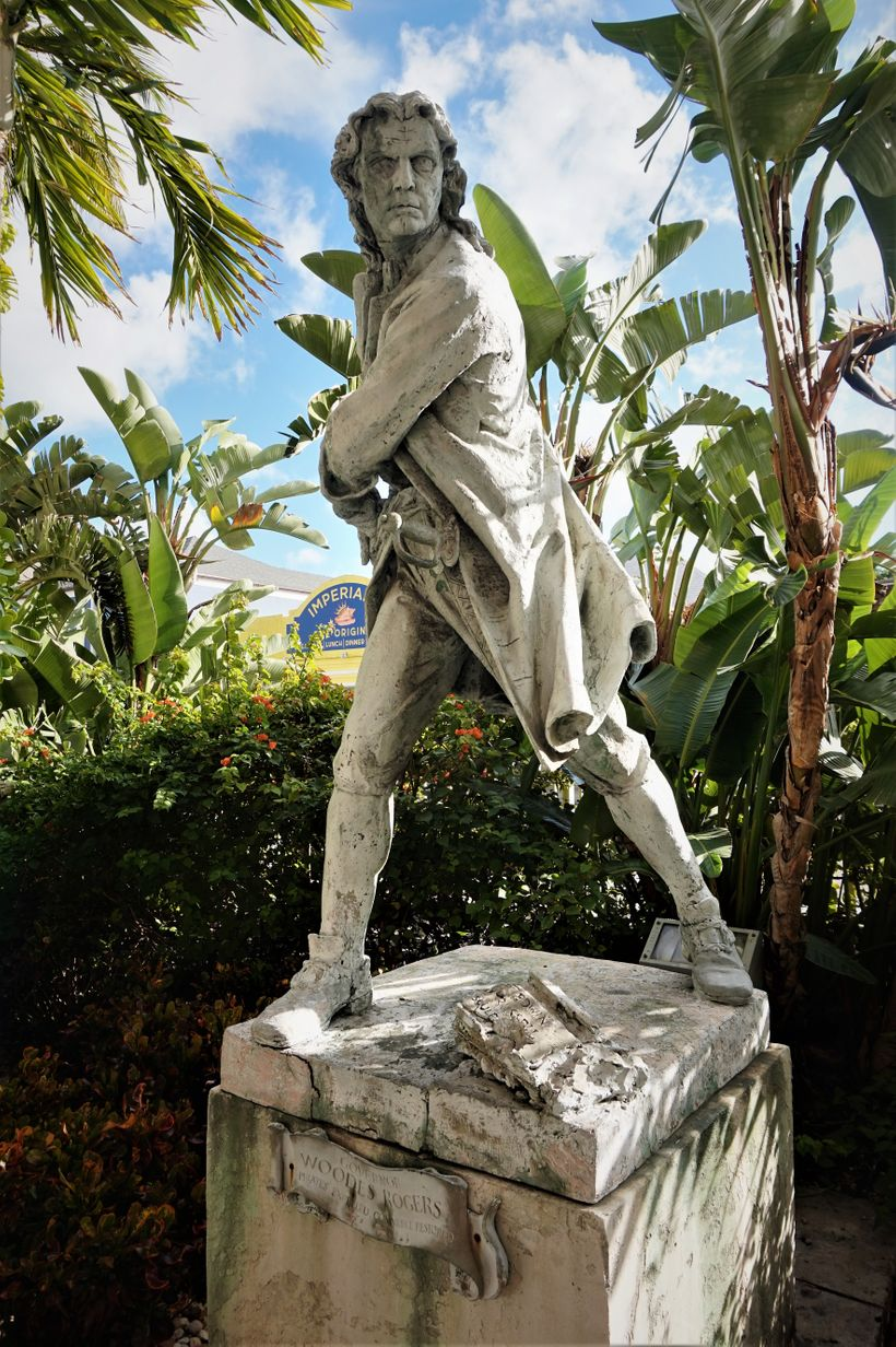 The statue of pirate hunter Woodes Rodgers
