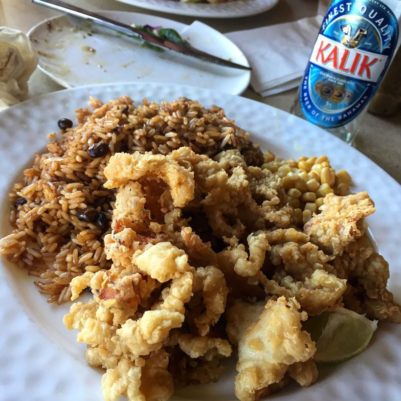 Cracked Conch and peas and rice