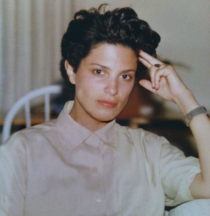 A photo of Carolyn Kramer in 1986, five years into her career. As a closeted gay teenager she was obsessed with androgynous models. After getting hired by Elite in 1983, she came out, chopped off her long hair and began wearing a leather jacket.