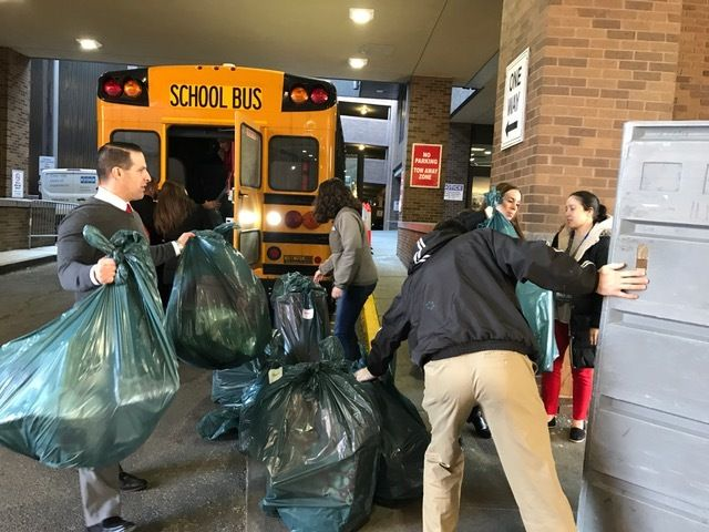 Students and faculty at Grover Cleveland Middle School in Caldwell, NJ collected and delivered over 300 presents for pediatri