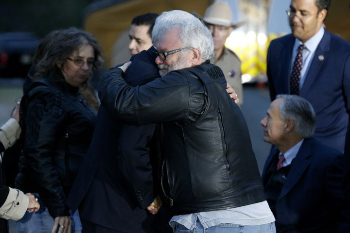 Vice President Mike Pence hugs Stephen Willeford, one of the two men who chased down Sutherland Springs gunman Devin Patrick