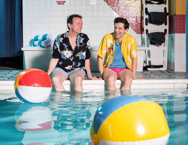 "Drew Droege (left) stars in ""Bright Colors and Bold Patterns,"" now playing in New York and directed by Michael Urie."